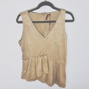 Aesymmetrical Suede Tank Top